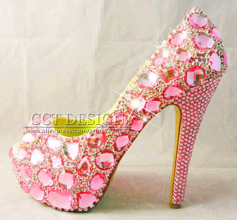 Pink High Heels For Wedding: Drop Shipment Handmade Customized Open Toe Pink Diamond
