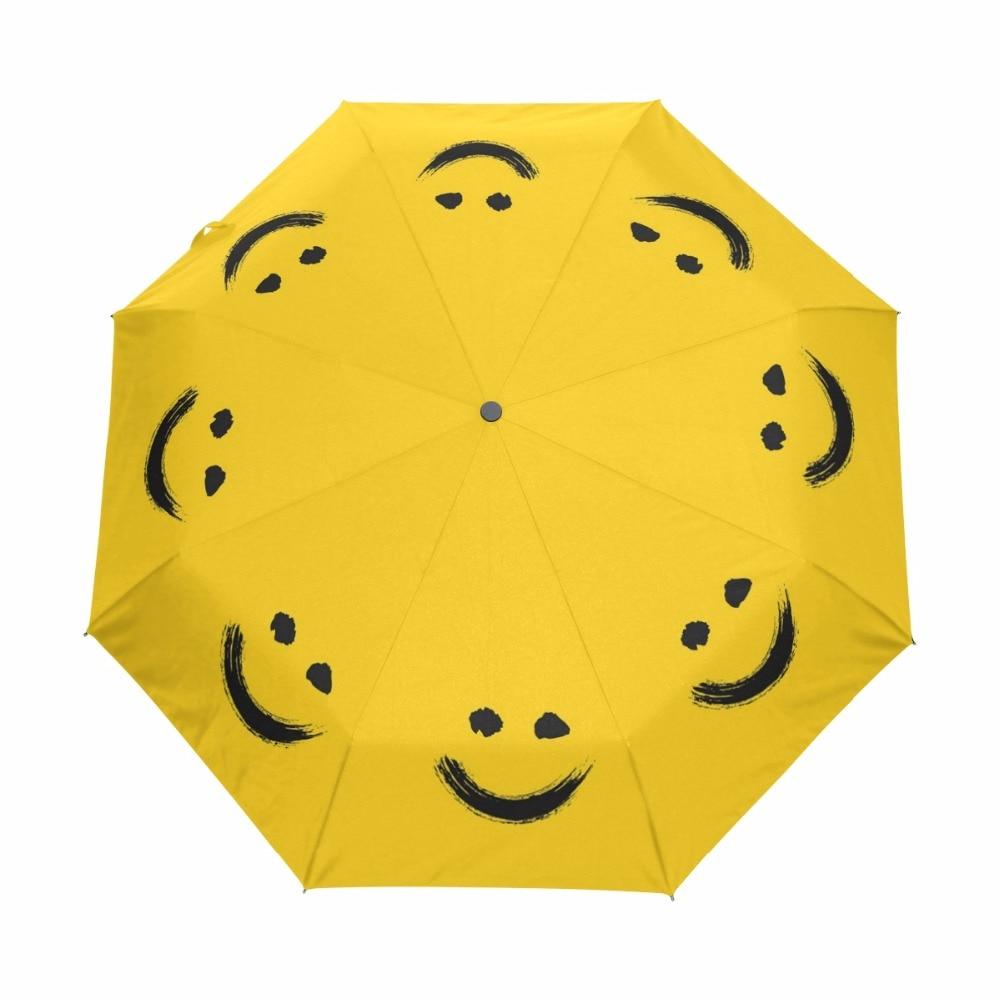 New Fashion Fully Automatic Umbrella Women Umbrellas Outdoor Anti UV Sun And Rain Paraguas Cute Smiling face Yellow Parasol