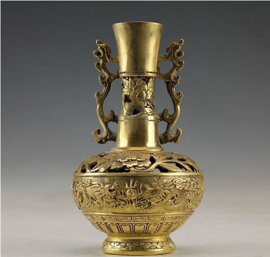 Christmas Decorations For Home Chinese Vintage Handwork Brass Dragon Vase Free Shipping In