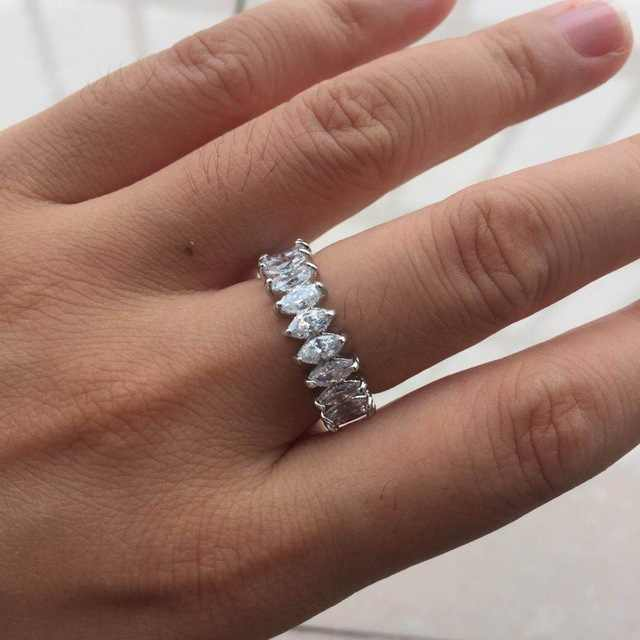 Slanted Cubic Zirconia Stone Rings For Women Simple Design Finger Accessories