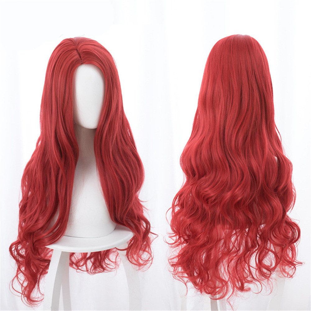 Aquaman Mera Cosplay Wig Anime Movie 85cm Long Curly Wavy Heat Resistant Synthetic Hair Women Costume Party Wig Red purim