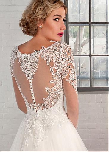 Image 3 - Elegant Tulle Bateau Neckline A line Wedding Dresses with Lace Appliques Long Sleeve Bridal Gowns Robe De Mariage-in Wedding Dresses from Weddings & Events