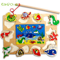 New Wooden Magnetic Fishing Game Jigsaw Puzzle Board Children Toy
