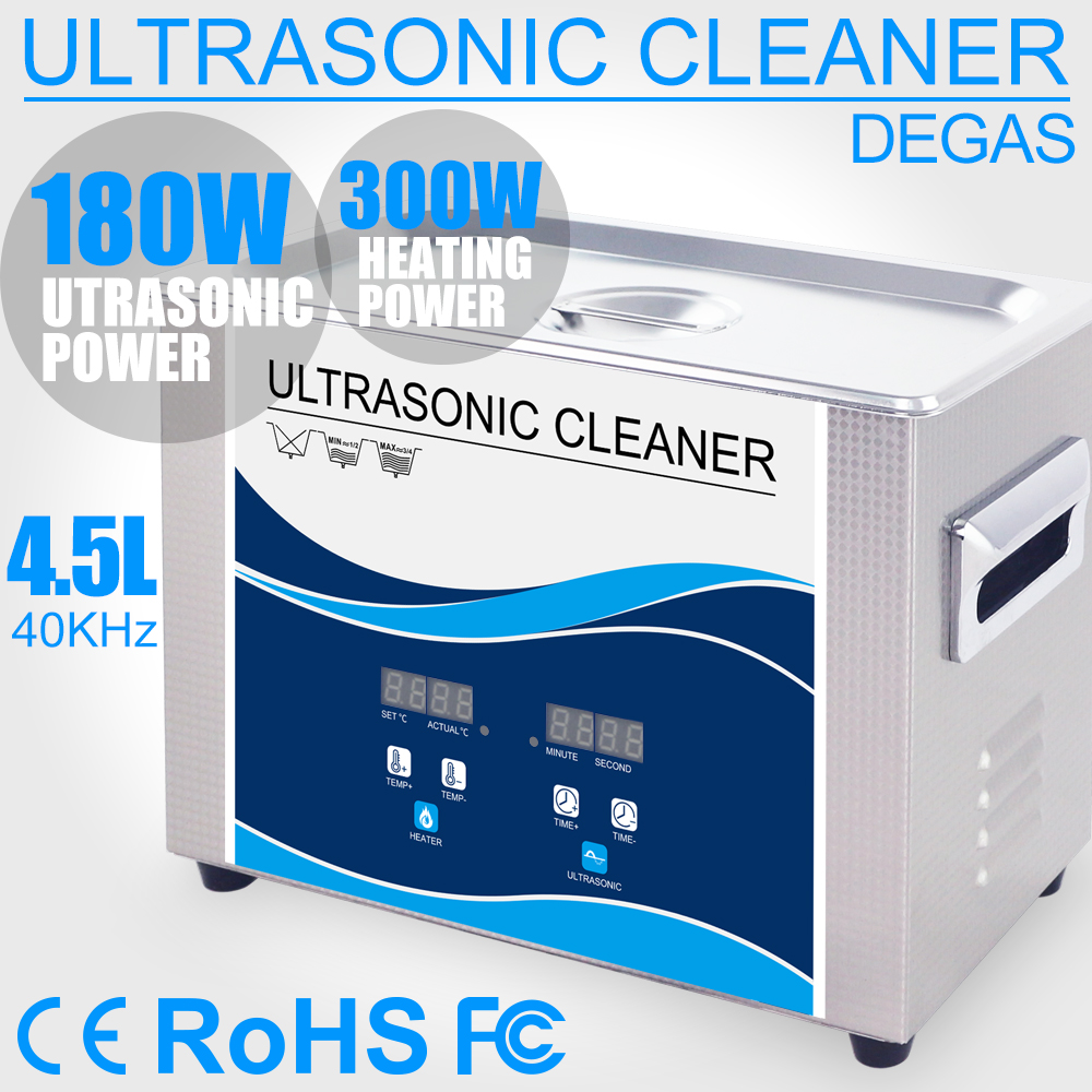 4 5L Ultrasonic Cleaner Bath 180W Timer Heater Degas Stainless Steel Ultrasonic Sterilization Hardware PCB Injector