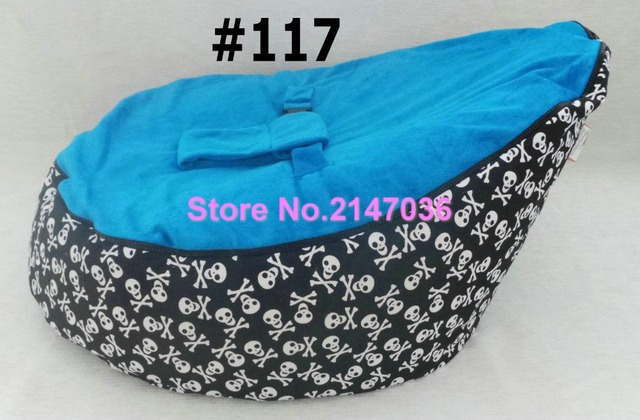 Fatball Bean Bag Factory Pirate Skull With Blue Harness Seat Polyester White Zipper Baby