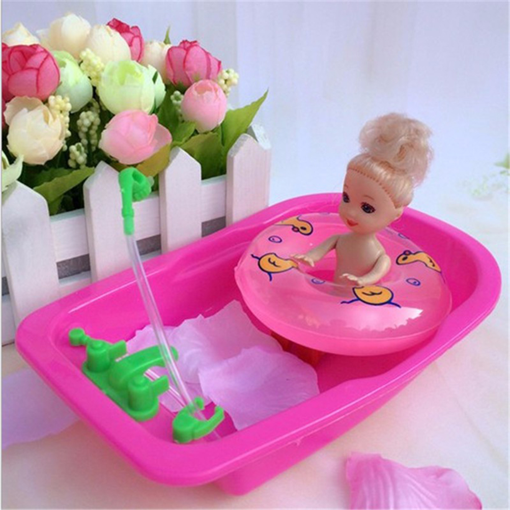 18*11*3.5cm 1pc Cute Fashion Furniture Accessories Baby Toy Play House Toys Bath Tub for Barbie Doll Accessories Random Color цена