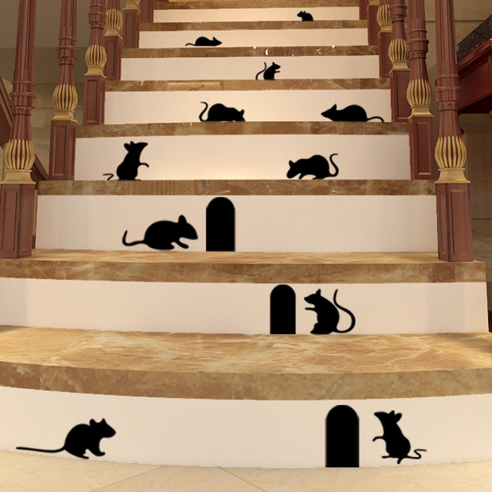 Graffiti art wall decals - Removable Diy Funny Art Graffiti Rat Hole Floor Stair Stickers Art Vinyl Decal Home Decor Wall
