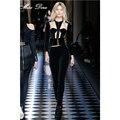 2016 B*lmain New runway Pants Suits Mesh Patchwork black apricot Long Sleeve Crop Top Skinny Pants bandage jacket
