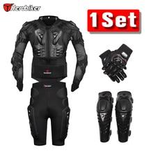 Nueva Moto Motocross Racing Motorcycle Body Armor Protective Jacket + Engranajes Pantalones Cortos + de protección de La Motocicleta Rodillera + guantes