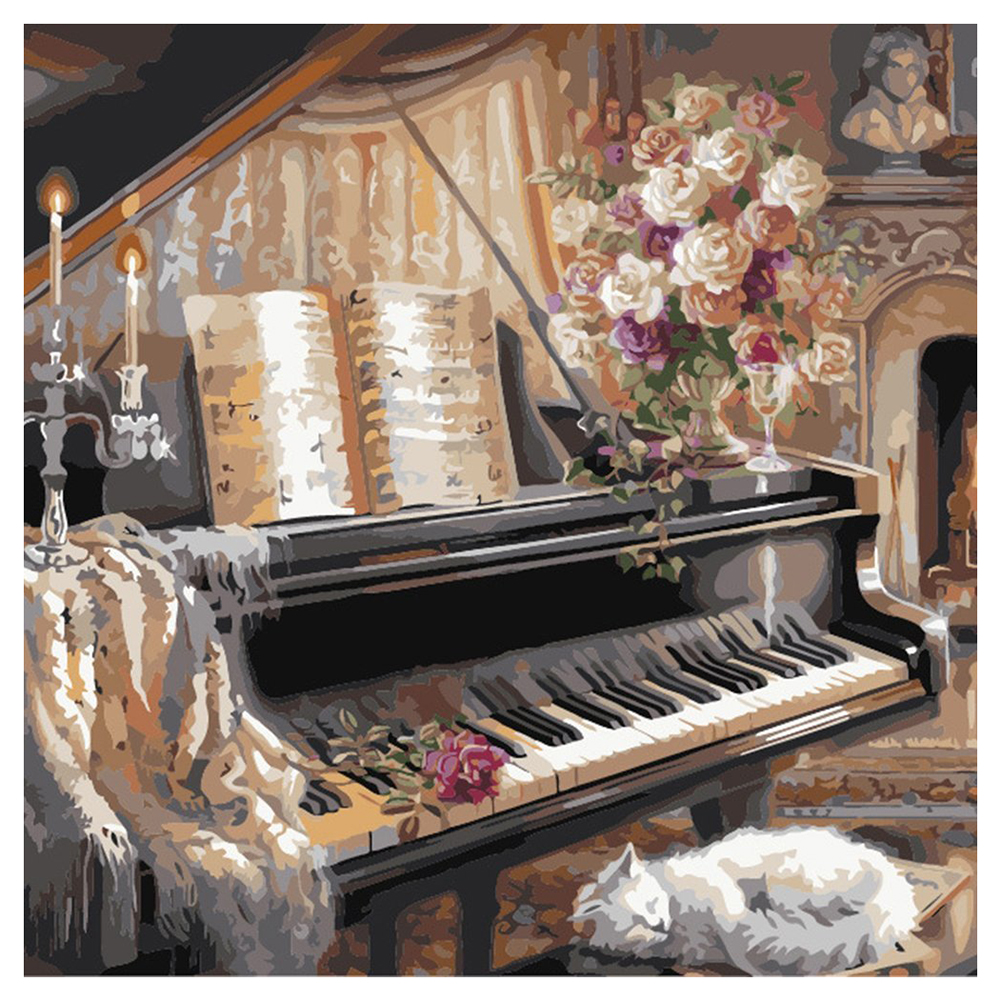 Warm Vintage Piano room Night Version Paint By Number Kit