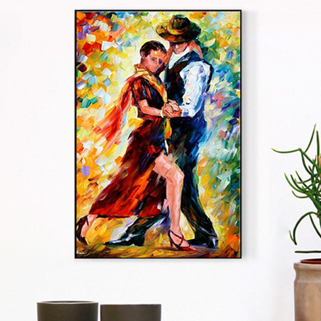 Hand Painted Canvas Oil Paintings Modern Home Decor Wall Art Dancer Acrylic Colorful Pictures