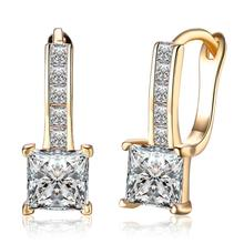 Brand Jewelry Gold Color with AAA Zircon Earrings for Women New Shiny Rhinestone Hoop Earing Ladies Wedding Jewellery Brinco