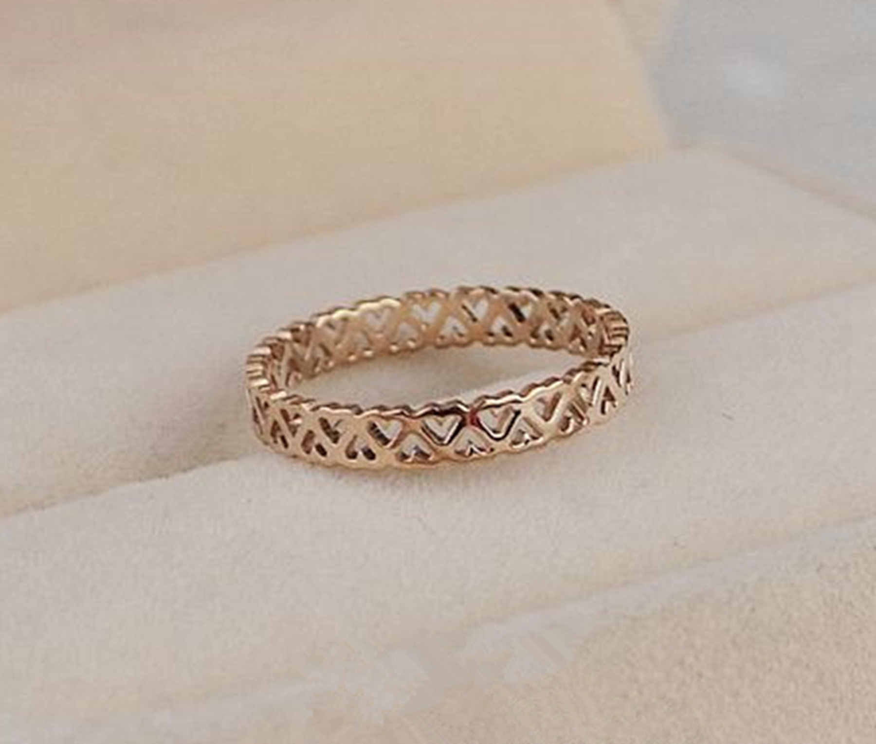 3mm US 3 to 10 size Simple hollow unique design rose gold color stainless steel rings for women female sweet anel feminino aneis