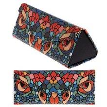 Portable Handmade Cartoon Animal Printing Pattern Foldable Triangular Glasses Case Magnetic Leather for Eyeglass #5