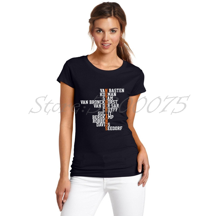 Women Retro Crossword Legend Netherlands Holland VAN BASTEN CRUYFF GULLIT BERGKAMP SEEDORFT T-Shirt Lady T Shirt Girl W17060616