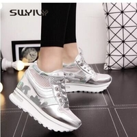 SWYIVY Women's Leisure Shoes Platform Breathable Student Sneakers Increased 2018 Spring Lady Casual Shoes Quality Woman Sneakers