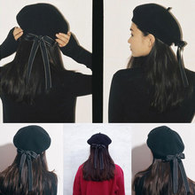 Fasion Women Soft Bow Elegant Berets Winter Warm Hat