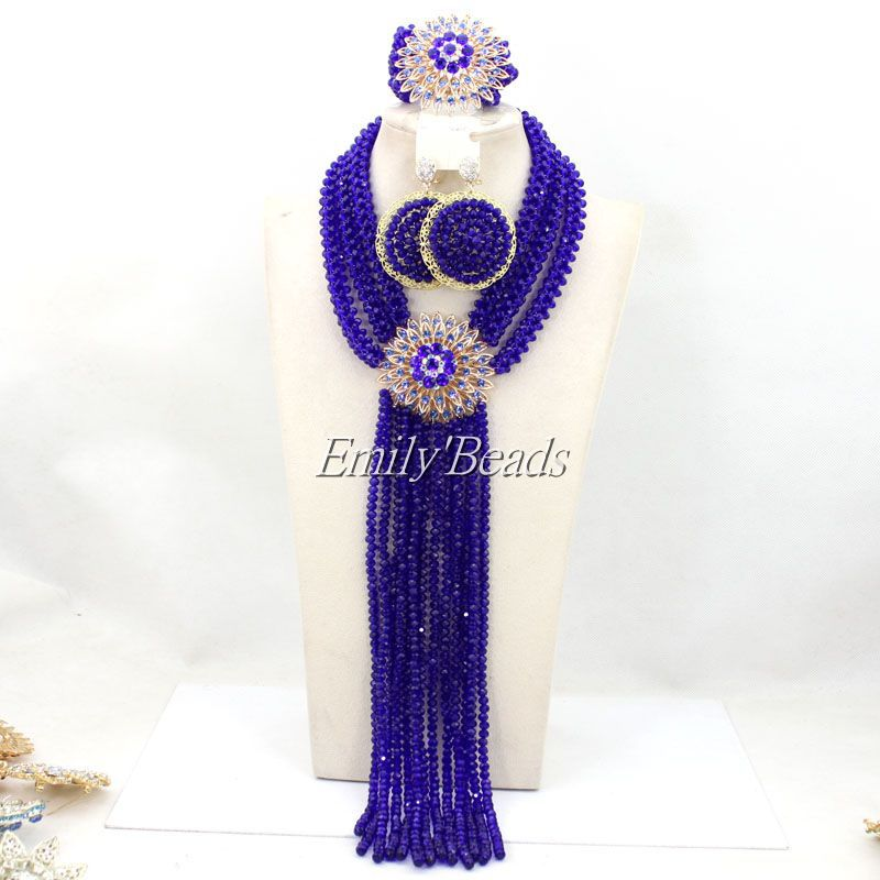 2015 New Arrival African Crystal Nigerian Wedding Beads Necklace and Earrings Jewelry Set Royal Blue Free Shipping AMJ450 стоимость