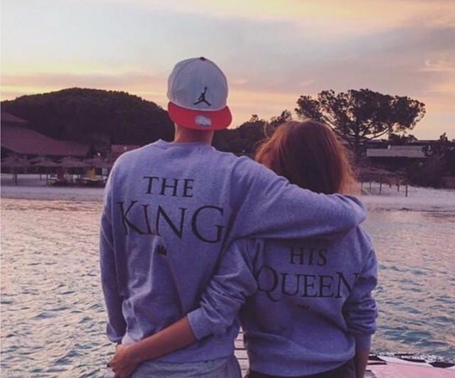 2016 Autumn Winter Couples Match Sweatshirts KING QUEEN Casual Long Sleeve Hoodies Lovers Sweatshirt Men&Women Pullovers S-XXXL