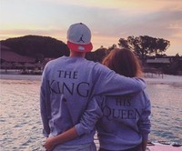 New Arrival Couple Clothes KING QUEEN Print Sweatshirt Pullover Crewneck Sports Hipster Tracksuit Fashion Hoodies Tops