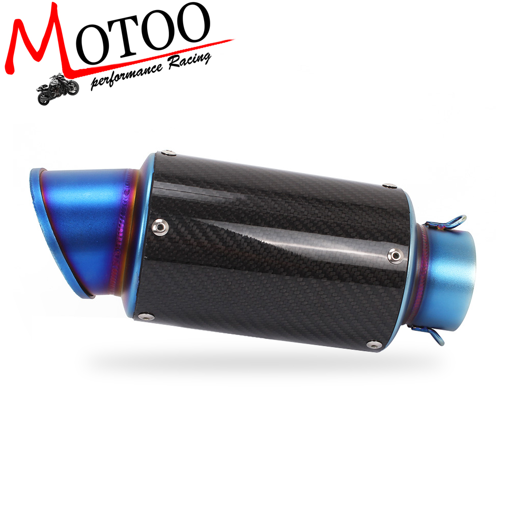 Motoo New Motorcycle Exhaust 60mm Muffler Pipe Carbon Fiber For Many Motorcycle