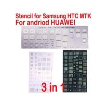 3pcs Universal BGA Stencils for Samsung HTC Huawei Android MTK Directly Heated BGA Reballing Stencils Kit