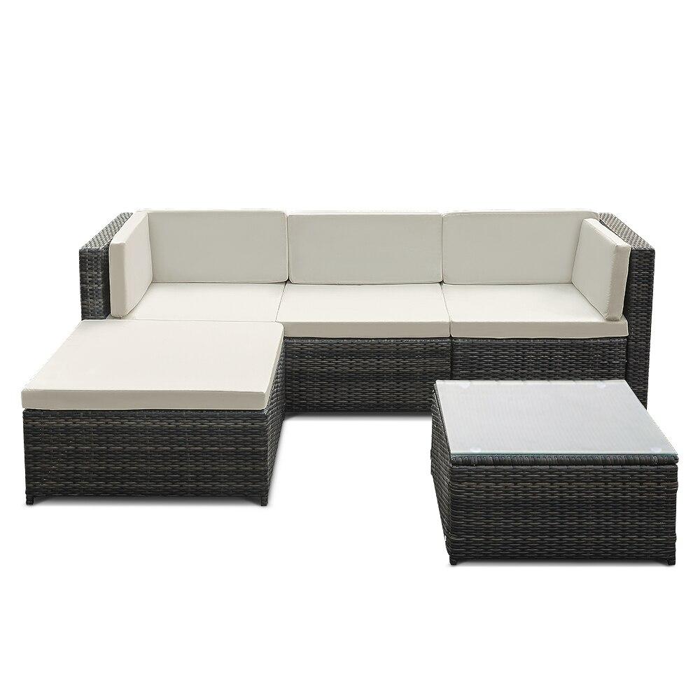 online shop ikayaa 5pcs pe rattan wicker patio garden furniture sofa set with cushions outdoor corner sectional couch set us fr de stock aliexpress mobile