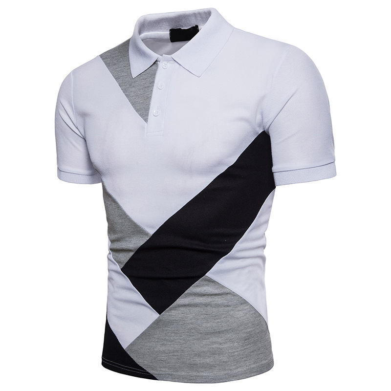 Short Sleeve Men's   Polo   Shirt Contrast Color Stitching Comfort Blend   Polo   Shirt Men Business Casual Office   Polo   Shirt New 2018