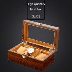 DA 3 gniazda drewniane pudełko na zegarek z okienkiem brązowe jakości drewniany zegarek etui do przechowywania nowy mężczyzna zegarka i pudełko na biżuterię W033