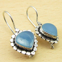Beautiful HEART BLUE CHALCEDONY Gems Silver Plated Earrings Jewelry 1 1/8 Inches