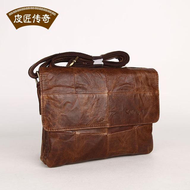 Couro genuíno saco do mensageiro do couro breve homem compartimento saco 8072196