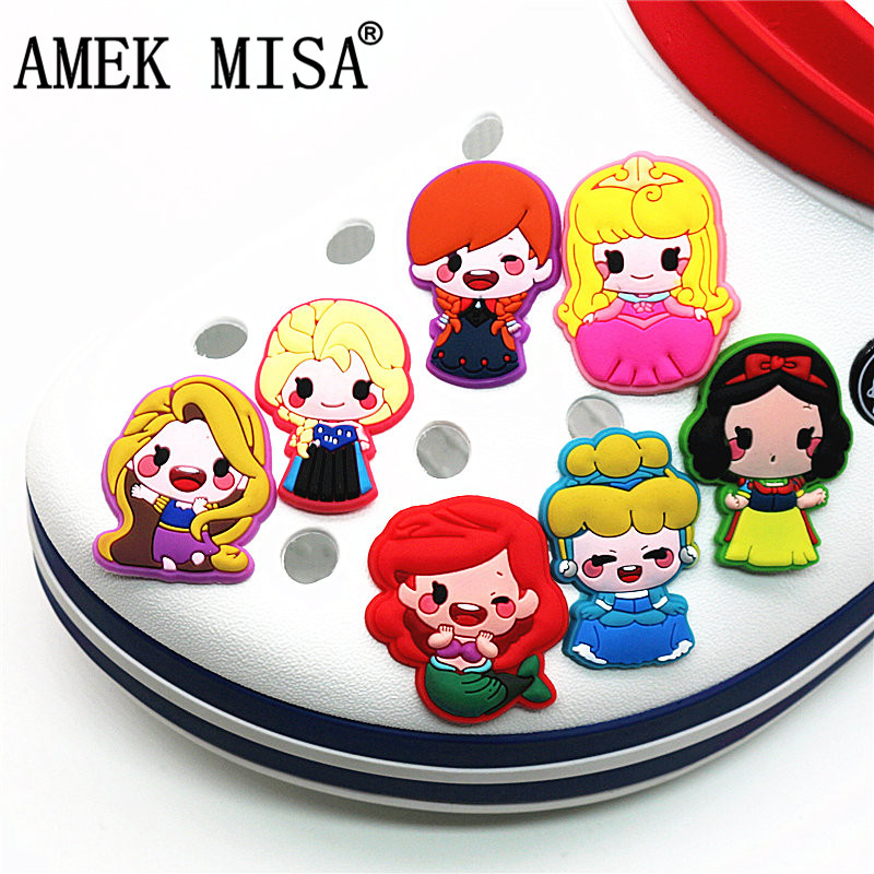 Single Sale 1Pcs Shoe Charms Cartoon Princess Series Shoe Accessories Shoe Decoration For Croc Jibz Kid's Party X-mas Gift