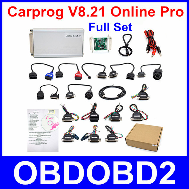 Online Version Carprog V8.21 ECU Chip Tuning Tool Full Adapters Car Prog 8.21 Programmer For Car Airbag Odometers Dashboard Immo