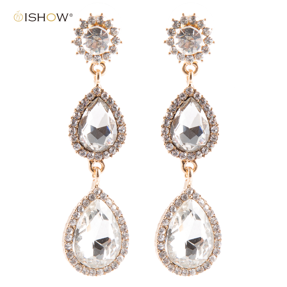 6.8 cm Crystal Bride Tear Drop Earings Vintage Wedding Earrings Brinco Statement Jewellery Brincos Mujer Ohrringe Gold Earrings