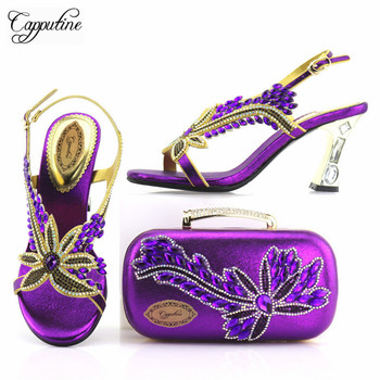 Capputine New Arrival African Ladies Shoes And Bag Set Nigerian Summer High Heels 8CM Shoes And Purse Set For Party TX-737