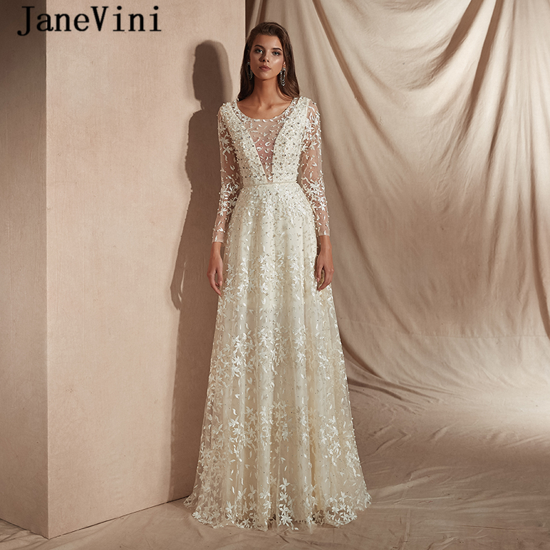 JaneVini Luxury Beading A Line   Prom     Dresses   with Long Sleeves 2019 Fashion Scoop Neck Pearls Sheer Back Lace Evening Party Gowns