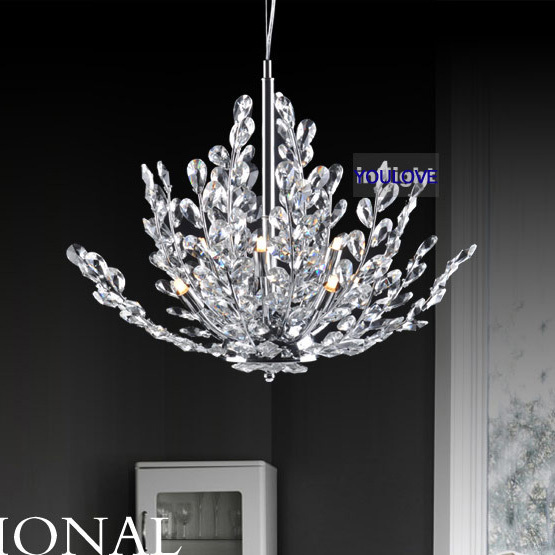 Modern Crystal Tree Pendant Lights Fixture Crystal Droplight Home Indoor Lighting Bed Room Foyer Restaurant Dining Room Lamps