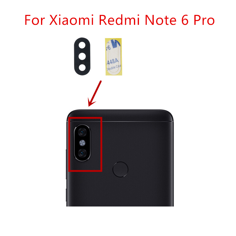 2pcs For Xiaomi Redmi Note 6 Pro Camera Glass Lens Back Rear Camera Glass Lens Replacement Repair Spare Parts With Glue
