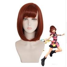 цена на New Halloween Costume Kingdom Hearts Kairi Auburn Short Bob Styled Synthetic Cosplay Wig Women Role Play Hair + Wig Cap