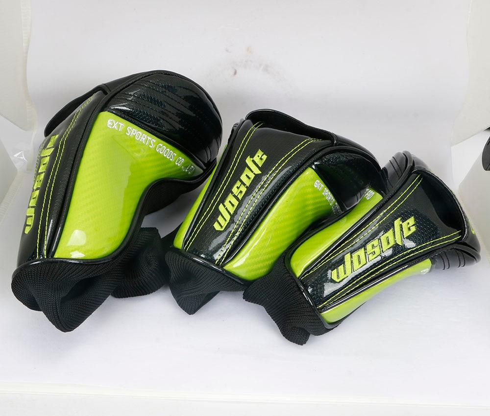 Купить с кэшбэком NEW Golf Club Headcovers 1# Driver 3# 5# Wood # Hybrid Cover black PU Leather with green Skull embroidery Head Covers