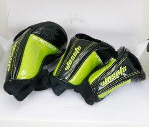Image 5 - Nouveau couvre chef de Club de Golf 1 # pilote 3 #5 # bois # couverture hybride cuir synthétique polyuréthane noir avec couvre chef de broderie crâne vert
