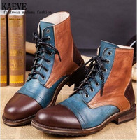 2016 New Brand Men Cow Leather boots Flats Ankle Boots Lace Up Retra Botas Men Army Shoes Classics Martin Boot Top Quality