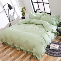 New Princess style pink green duvet cover set Embroidery bedding sets twin queen king size girls cute lace bed skirt bedclothes