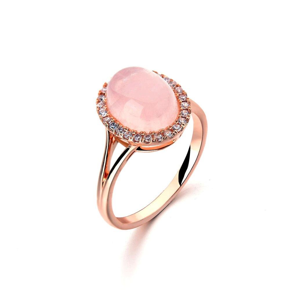 Ociki Rose Gold Color Cz Ross Quartz Crystal Green Pink Opal Wedding
