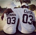 San Valentín Camisas mujeres/hombres Bonnie 03 Clyde 03 parejas ocio algodón manga corta Camiseta euro talla o cuello camiseta Camisas 2017