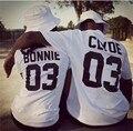 Valentine Camisas Mulheres/Homens Bonnie Bonnie 03 CLYDE 03 casais lazer algodão de manga curta T-shirt euro tamanho O pescoço camisetas