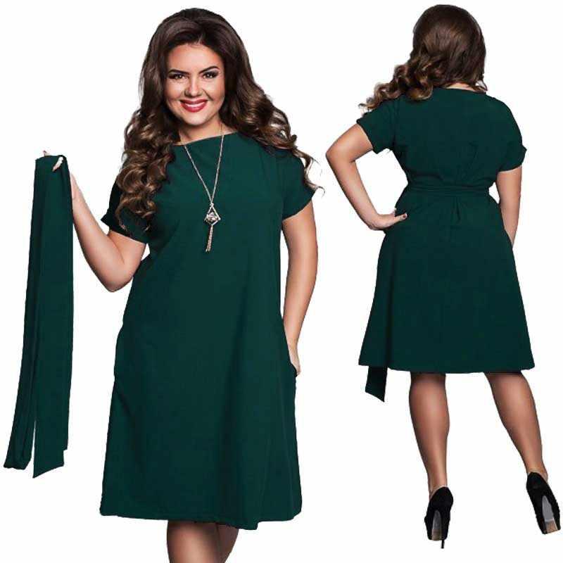 10c08d5c7ee2539 ... Плюс Размеры одноцветное вечерние платье женская одежда Летний стиль  o-образным вырезом Bodycon Большой Размеры