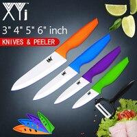 XYj Colorful 5 PCS Ceramic Kitchen Knives Set 3 4 5 6 Inch Paring Utility Slicing