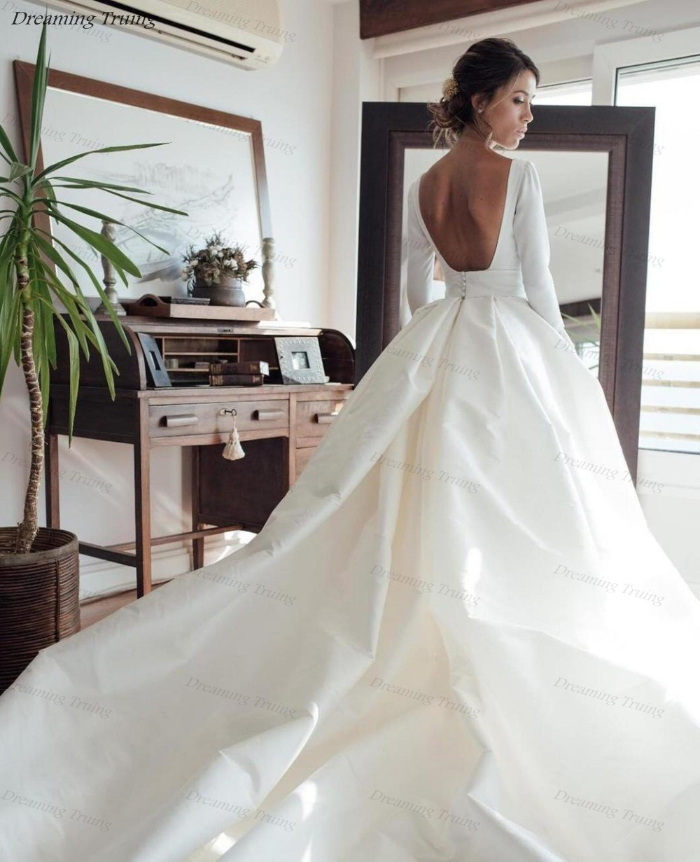 Wedding Gowns 2019 With Sleeves: Simple Long Sleeves Satin Wedding Dresses With Pockets