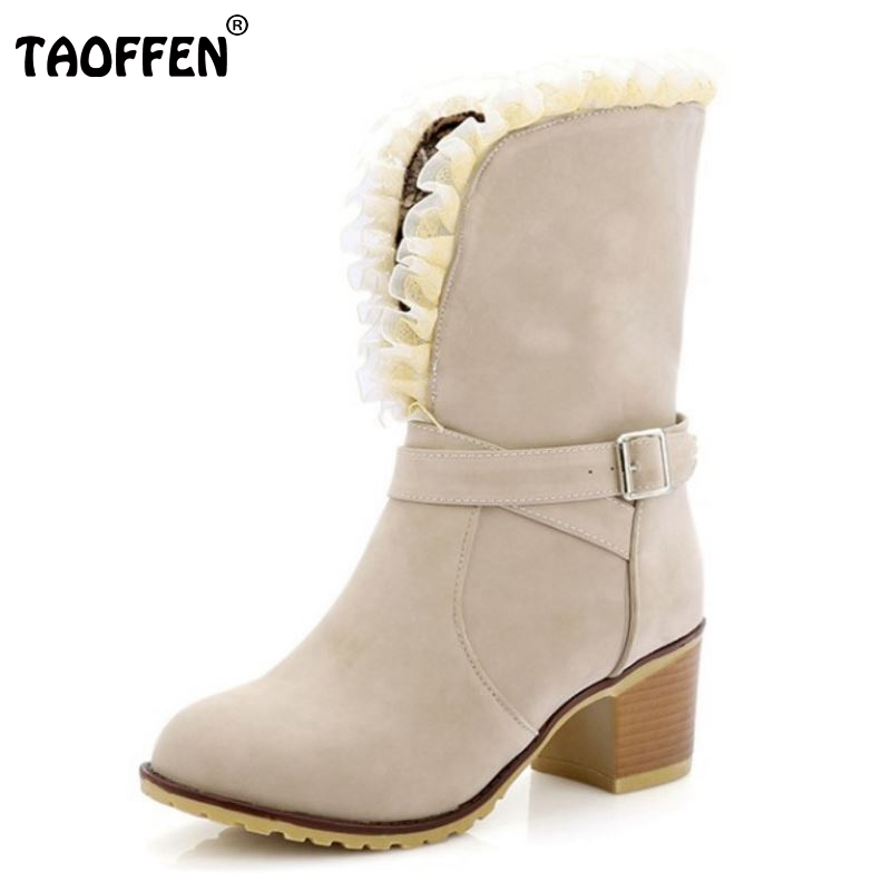 Women Square Heel Boots Half Knee Short Fashion Lace Dress Botas Winter Warm Martin Boots Shoes Woman Footwear Size 34-43